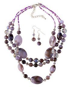 Multi Strand Purple Stone & Bead Necklace Set