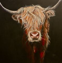 Gaelic Girl, Sam Morris Cow Art original acrylic on canvas 100 x Highland Cow Painting, Highland Cow Art, Scottish Highland Cow, Highland Cattle, Bull Painting, Fluffy Cows, Cow Pictures, Cow Pics, Cute Cows