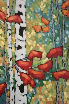 "Jennifer Woodburn ""Morning Glow on Birches"" 36x24inches"