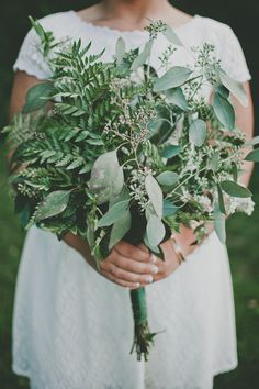 Seeded Eucalyptus and fern: http://www.stylemepretty.com/2015/04/21/20-green-bouquets-for-earth-day/
