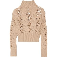 MM6 Maison Margiela - Open Cable-knit Wool Sweater (1.185 RON) ❤ liked on Polyvore featuring tops, sweaters, beige, chunky cable knit sweater, woolen sweater, chunky sweater, mm6 maison margiela and cable-knit sweater