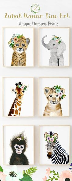 African Baby Animals Nursery Print Set 6 Safari Nursery Art, African Baby Animals Nursery Prints, Set 6 Safari Nursery Art, Baby girl nursery, Baby girl nursery ideas, floral nursery, nursery decor, floral nursery ideas, Girl nursery, Baby animals nursery set, elephant nursery, giraffe nursery, zuhal kanar, zebra nursery, cheetah