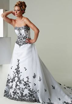 Black and White Wedding Gown lavish unique classy lush chic glam ornate elegant modern classic Repinned by Hassell Florist Clearwater, FL