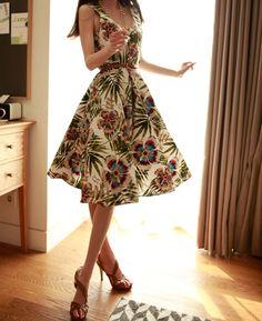 Floral Print Retro Style Scoop Neck Sleeveless Chiffon Dress For Women