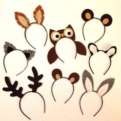 You will receive 1 of each of the following: Owl, deer, racoon, squirrel, wolf, fox, rabbit and bear ears headband. Color options are endless and can be completely customized. These are made with a headband, fabric and some use hidden wires to stand straight up. Please select the desired quantity if multiple sets of headbands are needed. Great for birthday parties and other events or for photo booth props. One size fits all: babies, children and adults. Headbands are very comfortable for all…