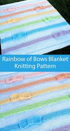 Baby Blanket Knitting Pattern Rainbow of Bows Blanket - Perfect for beginners, this blanket features ribbons of garter stitch with knit bows sewn in. Worsted Weight, Double Stranded yarn. Designed by AuntJanetsDesigns. Blue Baby Blanket, Chevron Baby Blankets, Knitted Baby Blankets, Toddler Knitting Patterns Free, Beginner Knitting Patterns, Knit And Crochet Now, Aran Weight Yarn, Garter Stitch, Ribbons