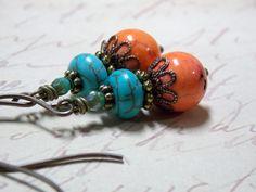 Orange & Turquoise Dangle Earrings