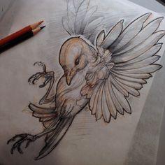 Ideas for drawing tattoo bird illustrations - - Tattoo Sketches, Drawing Sketches, Tattoo Drawings, Drawing Ideas, Bird Drawings, Animal Drawings, Nature Tattoos, Body Art Tattoos, Desenho Tattoo