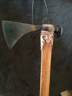 Viking inspired rail spike axe