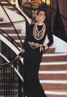 Tina Chow wearing a 1983 Trompe l'oeil dress.