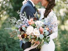 Rustic Montana Wedding with a country-boho theme and loose florals in summery pastel hues