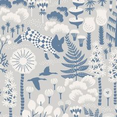Hoppmosse Wallpaper Piglets jump and geese fly through a stylised forest of fascinating shrubs, trees and ferns, block printed in soft blue and off-white on an pale grey ground. The nature of the block printing process results in the design having a unique veined effect for added depth and character.