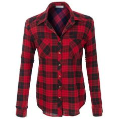 (pre-order) Red Black Plaid Button Down Shirt ($34) ❤ liked on Polyvore featuring tops, red, shirts, shirt tops, plaid button-down shirts, button down top, tartan shirt and button up shirts