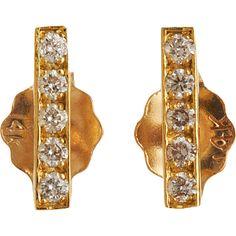 Jennifer Meyer Diamond Bar Stud Earrings ($675) ❤ liked on Polyvore