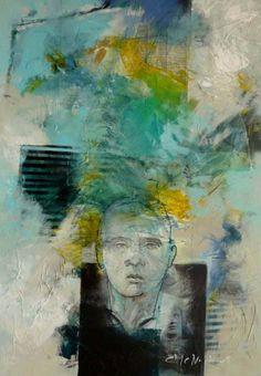 Marjan Nagtegaal. Dromen uit lang vervlogen tijd. een schilderij met transfers en het portret van een Griekse krijger. Abstract, Painting, Summary, Painting Art, Paintings, Painted Canvas, Drawings