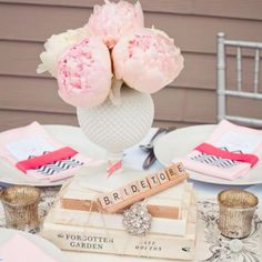Romantically classic table setting/centerpiece for bridal shower.