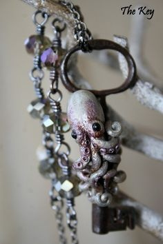 Octopus Necklace  Antique Key Necklace  Key to the Sea  by TheKey, $45.00