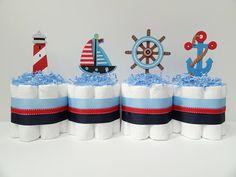 Set Of 4 Blue Nautical  Diaper Cakes Baby Shower Centerpiece