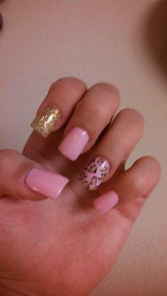 Nails: Pink, cheetah print with gold Latest Nail Designs, Cute Nail Designs, Trendy Nails, Cute Nails, Pink Cheetah Nails, Hair And Nails, My Nails, Plain Nails, Nails Only