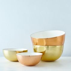 Get an instant upgrade with these copper, brass, and enamel bowls. #bowledover #bowl #superbowl #shop