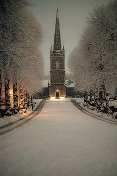 Hillsborough Parish Church, Ireland [ I would love to see this in person some day. Ireland is one of my ultimate dream vacations. I been to this church a couple of times, but never been during winter. Oh The Places You'll Go, Places To Travel, Places To Visit, Travel Destinations, Winter Szenen, Winter Night, Winter Time, Winter Road, Winter Sunset