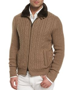 Loro Piana Traveler Jacket with Fur-Trimmed Collar, Cable-Knit Cashmere Bomber Jacket, Huck Lace Long-Sleeve Polo & Five-Pocket Stretch Denim Jeans