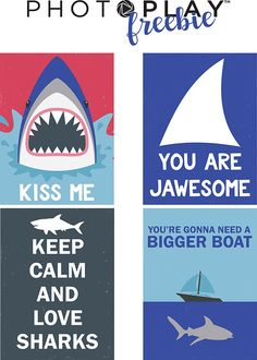 Free Printable from PHOTO PLAY PAPER featuring designs from the Shark Attack Collection.
