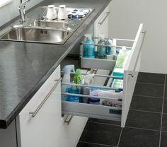 Kitchen Cabinets Organization Diy Under Sink Ideas For 2019 Kitchen Cabinet Knobs, Kitchen Cabinet Organization, Kitchen Organization, Kitchen Storage, Kitchen Cabinets, Drawer Shelves, Storage Drawers, Storage Spaces, Diy Kitchen