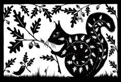 Acorn Squirrel Greetings Card - Folksy - Folk Art Papercuts by Suzy Taylor Kirigami, Paper Cutting, Cut Paper, Zentangle, Rabbit Drawing, Paper Animals, Sgraffito, Illustrations, Acorn