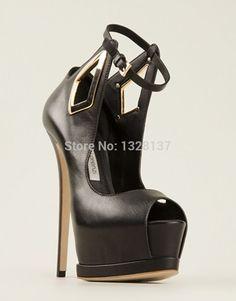 100.99$  Buy now - http://aliqfj.worldwells.pw/go.php?t=32724464034 - 2015 Big Size Ladies Charm Ankle Straps Peep Toe Platforms Leather Pumps Thin High Heel Shoes Woman sapatos femininos salto alto 100.99$