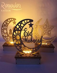 Ramadan Eid Mubarak Decorations For Home Moon LED Candles Light Wooden Hanging Pendant Islam Muslim Festival Party Supplies Packing Ramadan Wooden Decorations Color:Wood Material:Wooden Craft:Laser engraving Weight:about Occasion:Ramadan Images Eid Mubarak, Mubarak Ramadan, Eid Mubarak Wishes, Happy Eid Mubarak, Eid Mubarak Quotes, Ramadan Wishes, Eid Crafts, Ramadan Crafts, Ramadan Decorations