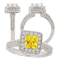 lab-grown princess cut moissanite engagement ring with natural diamond halo. Omg so beautiful! Princess Cut Engagement Rings, Gemstone Engagement Rings, Halo Diamond Engagement Ring, Yellow Sapphire Rings, Sapphire Diamond, Orange Sapphire, Emerald Rings, Ruby Rings, White Gold Rings