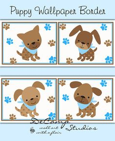 Puppy wallpaper border wall art decals for baby boy blue and brown nursery. Also perfect decor for dog groomers, veterinarians, dog shelters, and more #decamstudios