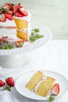 lemon curd cake with lemon cream cheese frosting & strawberry jam