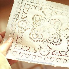 20 Big Square Flower Lace Paper Doilies 8 x 8in by WonderlandRoom