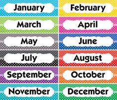 - Chevrons and Dots Monthly Headliners, Headliners add instant appeal to any classroom! Use them to enhance learning in the classroom. Preschool Classroom Labels, Preschool Charts, Zoo Preschool, Days Of A Week, Months In A Year, Date Activities, Learning Activities, Talkative Students, Ingles Kids