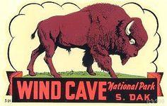 Vintage Wind Cave National Park Buffalo South Dakota State Travel Decal Sticker
