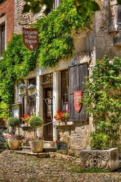 Perouges, France; a medieval walled town featured in many movies located northeast of Lyon