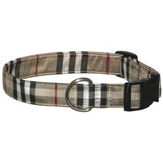 Ensure your dog is the most stylish dog in the park with our Silk Tan Plaid Dog Collar. The classic tan, black, white and red colors are sure to compliment your furry friends coat. This collar is available in small (8
