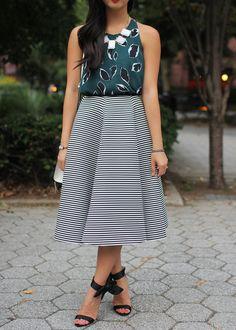 Striped Midi Skirt & Black Bow Heels