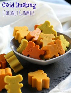 Cold-Busting Coconut Gummies     These Cold Busting Coconut Gummies are a great way to get a common home remedy for colds & flu into kids.