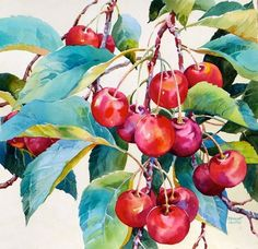 """Cheery Cherries"" - Bridget Austin on We Heart It Watercolor Fruit, Fruit Painting, China Painting, Watercolor Artists, Watercolor Landscape, Watercolor And Ink, Watercolour Painting, Watercolor Flowers, Watercolors"