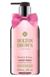 """Molton Brown London """"Rhubarb & Rose"""" Hand Wash. The formula utilizes a blend of rhubarb extract to keep your hands healthy, rose extract to moisturize and aromas of yuzu, grapefruit and mandarin for a zesty fresh scent."""