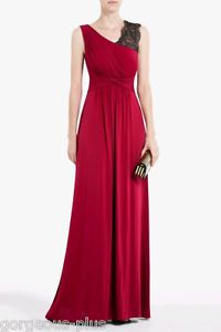 NWT 380 BCBG RED GOWN BLACK LACE 2XS XXS (0 00) QUENBY