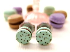 Delicate French Macaron Earrings in a pale by LittleWooStudio, $34.95