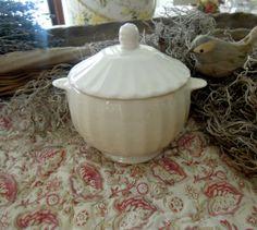 Vintage Sugar Bowl / Creamware / Jam Pot by jmhallcuriosities, $16.00