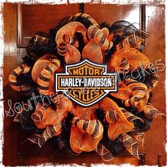 Harley Davidson Wreath Orange And Black Deco Mesh Wreath
