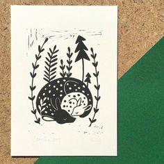 Sleeping Mommy and Baby Deer Linocut Print edition of 20