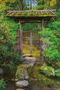 """Gate at Yoshikien, Nara, Japan - photo from """"Japanese Garden Notes: A Visual Guide to Elements and Design"""" by Marc Peter Keane  """"The unfinished timbers and mossy roof express a sense of naturalness and humility.""""—an image and text from """"Japanese Garden Notes: A Visual Guide to Elements and Design"""" by Marc Peter Keane http://www.stonebridge.com/catalog/Japanese-Garden-Notes"""