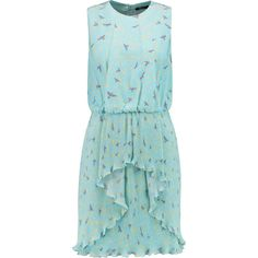 Raoul Garland printed silk crepe de chine dress ($305) ❤ liked on Polyvore featuring dresses, sky blue, ruffle dresses, silk pleated dress, sky blue dress, blue silk dress and lightweight dresses